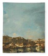 Venice A View Of The Rialto Bridge Looking North From The Fondamenta Del Carbon Fleece Blanket