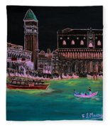 Venice At Night Fleece Blanket