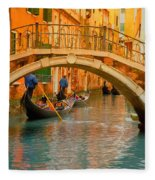 Venice Boat Bridge Oil On Canvas Fleece Blanket