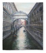 Venice Bridge Of Sighs - Original Oil Painting Fleece Blanket