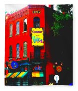 Venice Cafe' Painted And Edited Fleece Blanket