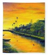 Venice California Canal Fleece Blanket