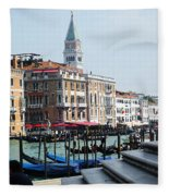 Venice Gondolas On Canal Grande Fleece Blanket