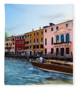 Venice Grand Canal View Italy Sunny Day Fleece Blanket