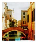Venice Italy Canal With Boats And Laundry Fleece Blanket