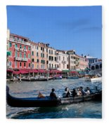 Venice Italy Gondola With Tourists Floats On Grand Canal Fleece Blanket