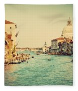 Venice Italy  Grand Canal In Vintage Style Fleece Blanket