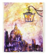 Venice Italy Watercolor Painting On Yupo Synthetic Paper Fleece Blanket