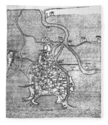 Venice: Map, 12th Century Fleece Blanket