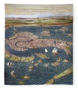 Venice: Map, 16th Century Fleece Blanket