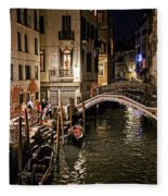 Venice Night By The Canal Fleece Blanket
