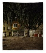 Venice Square At Night Fleece Blanket
