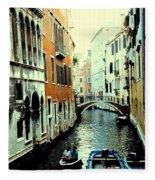 Venice Street Scene Fleece Blanket