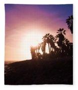 Ventura Beach Sunset Fleece Blanket
