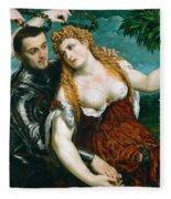 Venus Mars And Cupid Crowned By Victory Fleece Blanket