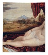 Venus With The Organ Player Fleece Blanket