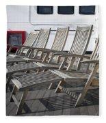 Verandah Seating 02 Queen Mary Ocean Liner Long Beach Ca Fleece Blanket