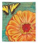 Verdigris Floral 1 Fleece Blanket