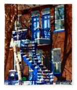 Verdun Duplex Stairs With Birch Tree Montreal Winding Staircases Winter City Scene Carole Spandau Fleece Blanket