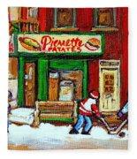 Verdun Hockey Game Corner Landmark Restaurant Depanneur Pierrette Patate Winter Montreal City Scen Fleece Blanket