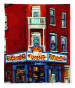 Verdun Landmarks Pierrette Patates Resto Cafe  Deli Hot Dog Joint- Historic Marquees -montreal Scene Fleece Blanket