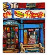 Verdun Restaurants Pierrette Patates Pizza Poutine Pepsi Cola Corner Cafe Depanneur - Montreal Scene Fleece Blanket