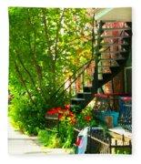 Verdun Stairs Red Flowers On Winding Staircase Tall Shade Tree Montreal Summer Scenes Carole Spandau Fleece Blanket