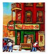 Verdun Street Hockey Pierrettes Restaurant Rue 3900 Verdun -landmark Montreal Hockey Art Work Scenes Fleece Blanket