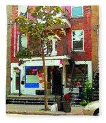 Verdun Variety Store Summer Street Scene Montreal Depanneur Double Staircases Carole Spandau Fleece Blanket