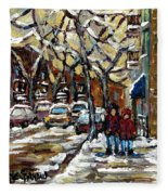 Verdun Winter Row Houses In January Montreal Paintings Time For A Walk Carole Spandau Fleece Blanket