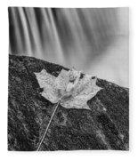 Vermont Autumn Maple Leaf Black And White Fleece Blanket