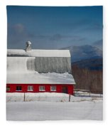 Vermont Barn In Snow With Mountain Behind Fleece Blanket