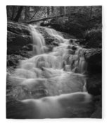 Vermont Forest Waterfall Black And White Fleece Blanket