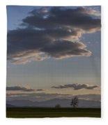Vermont Grass Field Trees Clouds Adirondack Mountains New York Fleece Blanket