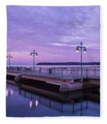Vermont Lake Champlain Sunrise Clouds Fishing Pier Fleece Blanket