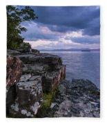 Vermont Lake Champlain Sunset Clouds Shoreline Fleece Blanket