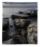 Vermont Lake Champlain Sunset Cloudscape Rocks Fleece Blanket