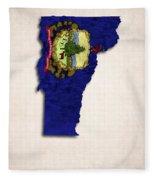 Vermont Map Art With Flag Design Fleece Blanket