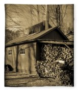 Vermont Maple Sugar Shack Circa 1954 Fleece Blanket