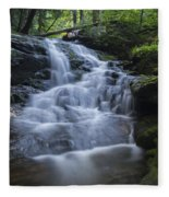 Vermont New England Waterfall Green Trees Forest Fleece Blanket
