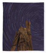 Vermont Night Star Trail Wood Pier Fleece Blanket
