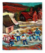 Vermont Pond Hockey Scene Fleece Blanket