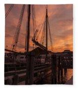 Vermont Sunrise Boats Pier Lake Champlain Fleece Blanket
