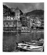 Vernazza - Cinque Terre In Grey Fleece Blanket