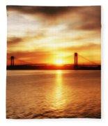 Verrazano Bridge At Sunset Fleece Blanket