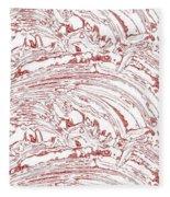 Vertical Panoramic Grunge Etching Burgundy Color Fleece Blanket