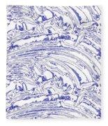 Vertical Panoramic Grunge Etching Royal Blue Color Fleece Blanket
