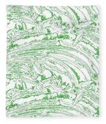 Vertical Panoramic Grunge Etching Sage Color Fleece Blanket