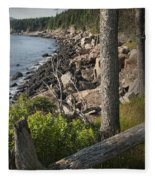 Vertical Photograph Of The Rocky Shore In Acadia National Park Fleece Blanket