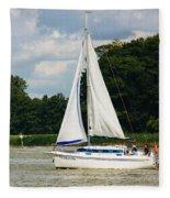 Vertical Sailboat Fleece Blanket